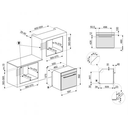 Cuptor incorporabil electric Smeg Linea SF6101TVB1, alb, Vapor Clean