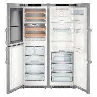 Combina frigorifica Side by Side Liebherr SBSes 8496, No Frost, Biofresh, IceMaker, compartiment vinuri, 645L, clasa A+++, Inox
