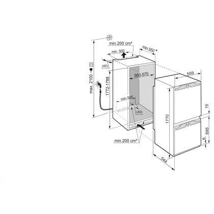 Combina frigorifica incorporabila Liebherr ICN 3376, No Frost, BioCool, DuoCooling, 255 l, clasa A++