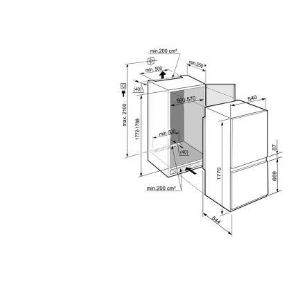 Combina frigorifica incorporabila Liebherr ICUNS 3324, No Frost, BioCool, SuperFrost, 256 l, clasa A++, glisare
