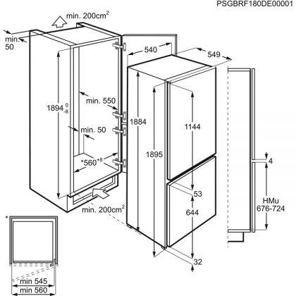Combina frigorifica incorporabila AEG SCE819D8TS, 55 cm, No Frost Inteligent, FreshBox, clasa D