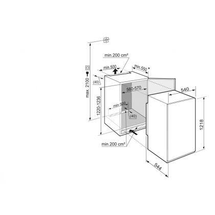Frigider incorporabil cu o usa Liebherr IKS 2334, BioCool, SuperCool, 201 l, clasa A++, glisare