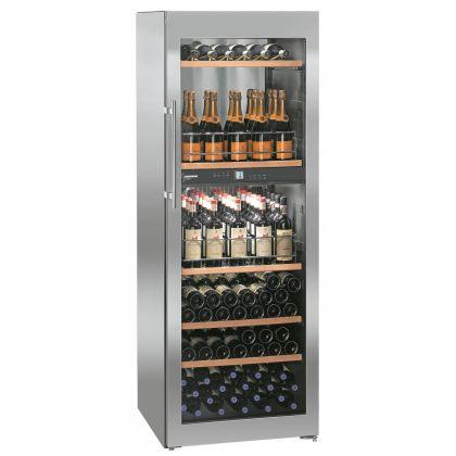 Vitrina de vin Vinidor Liebherr WTpes 5972 inox, 2 zone de temperaturi individuale, protectie UV, 516 l, 155 sticle