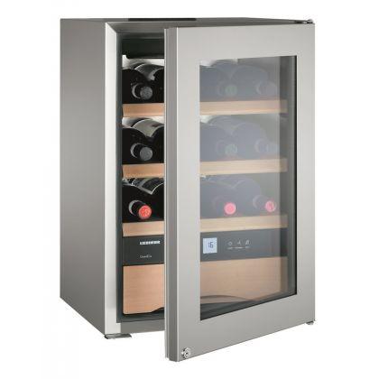 Vitrina de vin GrandCru Liebherr WKes 653 culoare inox, protectie UV, o zona de temperatura individuala, 38 l, 12 sticle