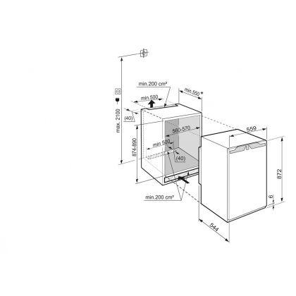 Frigider incorporabil sub blat cu o usa Liebherr IKP 1660, BioCool, SuperCool, 151 l, clasa A+++