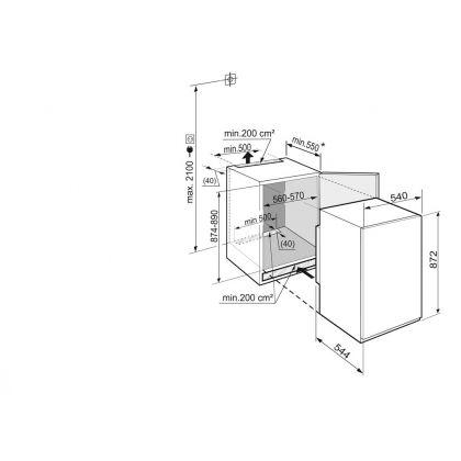 Frigider incorporabil sub blat cu o usa Liebherr IKS 1620, BioCool, SuperCool, 151 l, clasa A++, glisare