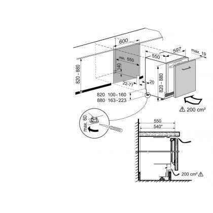 Frigider incorporabil sub blat SoftTelescopic Liebherr UIKo 1550, SuperCool, 124 l, clasa A++