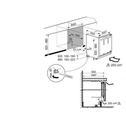 Frigider incorporabil sub blat SoftTelescopic Liebherr UIKP 1550, SuperCool, 136 l, clasa E