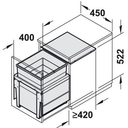 Cos de gunoi incorporabil Hailo 502.04.460, 1 cos x 55 l