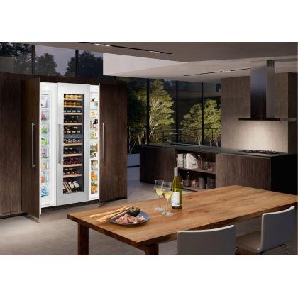 Vitrina de vin incorporabila Vinidor Liebherr EWTdf 3553, panou decorativ, 2 zone de temperatura individuala, protectie UV, 254 l, 80 sticle