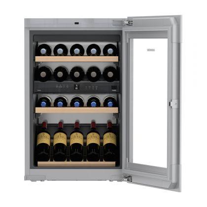 Vitrina de vin incorporabila Vinidor Liebherr EWTgw 1683, sticla alba, 2 zone de temperatura individuala, protectie UV, 104 l, 33 sticle