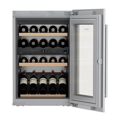 Vitrina de vin incorporabila Vinidor Liebherr EWTdf 1653, panou decorativ, 2 zone de temperatura individuala, protectie UV, 97 l, 30 sticle