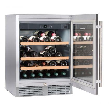 Vitrina de vin incorporabila GrandCru Liebherr UWKes 1752, inox, o zona de temperatura individuala, protectie UV, 110 l, 46 sticle