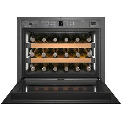 Vitrina de vin incorporabila GrandCru Liebherr WKEgb 582, sticla neagra, o zona de temperatura individuala, protectie UV, 46 l, 18 sticle