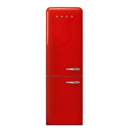 RESIGILAT!! Combina frigorifica retro Smeg FAB32LRN1, congelator No Frost, clasa A++, rosu, balamale pe stanga