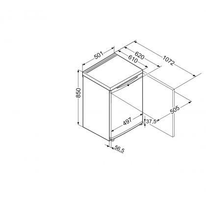 Minibar Liebherr T 1404, alb, 122 l, clasa F, 50 cm latime, compartiment congelator