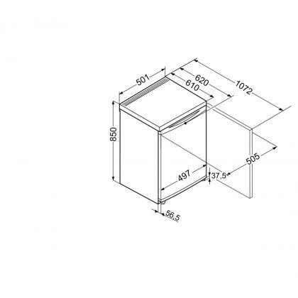 Minibar Liebherr T 1400, alb, 136 l, clasa F, 50 cm latime