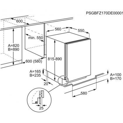 Frigider minibar Electrolux LXB2AF82S, 56 cm, A++, 127 l