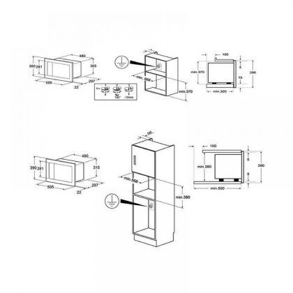 Cuptor incorporabil cu microunde Smeg Linea FMI120B2, 60 cm, alb