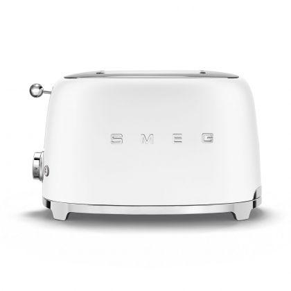 Prajitor de paine Smeg TSF01WHMEU, 950 W, alb mat, retro
