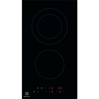 Plita incorporabila vitroceramica Electrolux LHR3233CK, 2 zone de gatit, Control touch, 30 cm, Negru, Timer