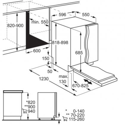 Masina de spalat vase incorporabila Electrolux EEG69410W, 60 cm, 15 seturi, 8 programe, AirDry, Inverter