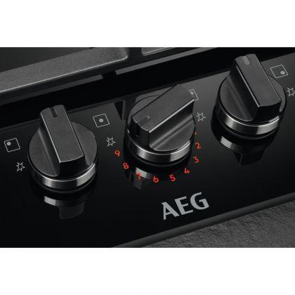 Plita incorporabila AEG HKB75450NB, Gaz, 75 cm, 5 arzatoare, Aprindere electrica, Conexiune hota, Timer, Negru