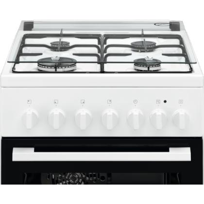 Aragaz mixt Electrolux LKK520002W, 4 Arzatoare gaz, Grill, Aprindere electrica, Cuptor electric 54 L, 50 cm, Alb