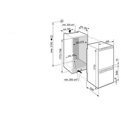 Combina frigorifica incorporabila SmartFrost Liebherr ICBb 5152, 56 cm, clasa B, BottleTimer, filtru aer, BioFresh, display Touch