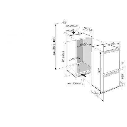 Combina frigorifica incorporabila NoFrost Liebherr ICNe 5133, 56 cm, clasa E, SuperSilent, display Touch, EasyFresh, IceMaker