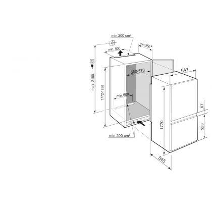 Combina frigorifica incorporabila SmartFrost Liebherr ICSe 5122, 56 cm, clasa E, SuperSilent, display Touch, EasyFresh, IceCubeTimer