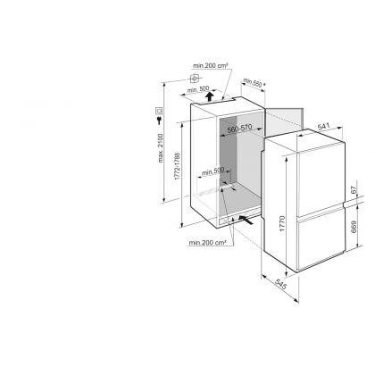 Combina frigorifica incorporabila SmartFrost Liebherr ICSe 5103, 56 cm, clasa E, SuperSilent, display Touch, EasyFresh, IceCubeTimer, 264 L