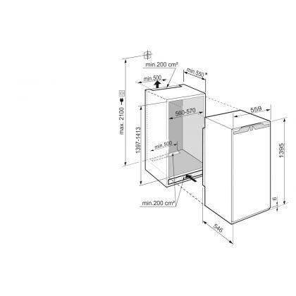 Frigider incorporabil cu o usa Liebherr IRBd 4550, 56 cm BioFresh, clasa D, 224 L, display Touch, SuperCool, Filtru FreshAir