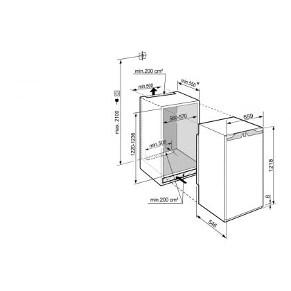 Frigider incorporabil cu o usa Liebherr IRBb 4170, 56 cm, BioFresh, HydroBreeze, clasa B, 191 L, display Touch, SuperCool, Filtru FreshAir