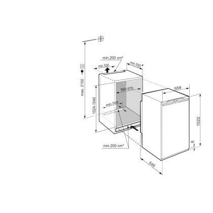 Frigider incorporabil cu o usa Liebherr IRBd 4020, 56 cm, BioFresh, clasa D, 156 L, display Touch, SuperCool, Filtru FreshAir