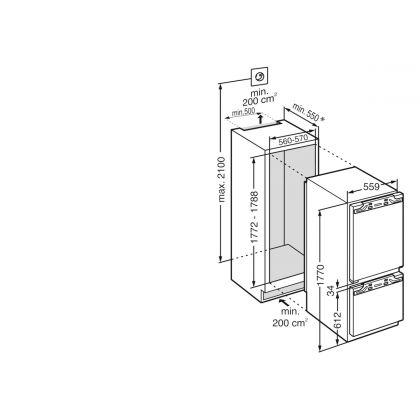 Frigider incorporabil cu 2 usi Liebherr IRCf 5121, 56 cm, compartiment pivnita, EasyFresh, clasa F, 274 L, display Touch, SuperCool