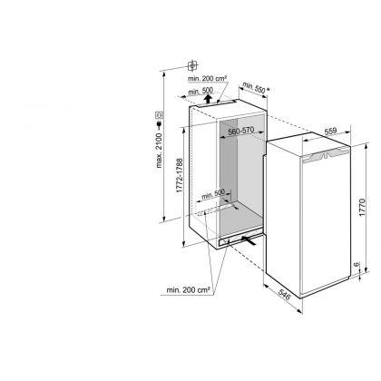 Frigider incorporabil cu o usa Liebherr IRDe 5121, 56 cm, EasyFresh, clasa E, 286 L, display Touch, SuperCool