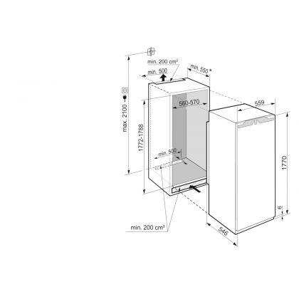 Frigider incorporabil cu o usa Liebherr IRe 5100, 56 cm, EasyFresh, clasa E, 308 L, display Touch, SuperSilent, Filtru FreshAir