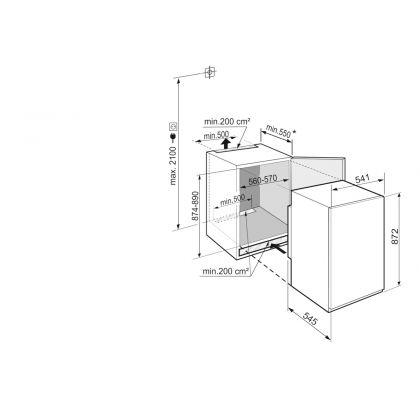 Frigider incorporabil cu o usa Liebherr IRSf 3900, 56 cm, EasyFresh, clasa F, 136 L, display Touch, SuperCool, SuperSilent