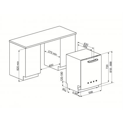 Masina de spalat vase partial incorporabila Smeg 50's Style STFABBL3, 60 cm, 13 seturi, neagra, retro, clasa B