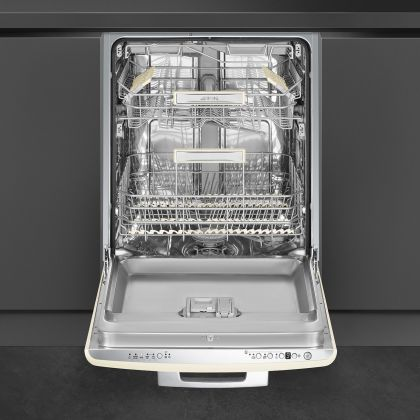 Masina de spalat vase partial incorporabila Smeg 50's Style STFABCR3, 60 cm, 13 seturi, crem, retro, clasa B