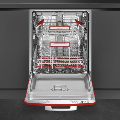 Masina de spalat vase partial incorporabila Smeg 50's Style STFABRD3, 60 cm, 13 seturi, retro, clasa B, rosu