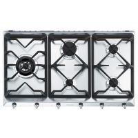 Plita incorporabila pe gaz Smeg Classic SE97GXBE5, 90 cm, gratare fonta, wok