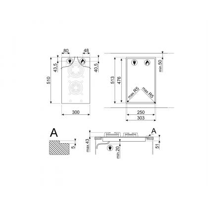 Plita incorporabila vitroceramica pe gaz Smeg Classic PV332CN, 30 cm, gratare fonta