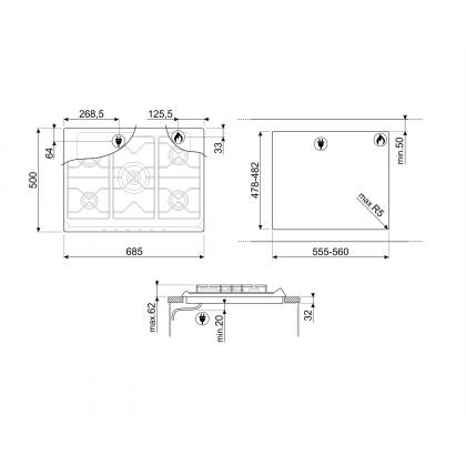 Plita incorporabila pe gaz Smeg Classic SE775GH5, 70 cm, gratare fonta, Wok