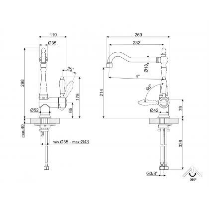 Baterie de bucatarie Smeg Colonial MIR6NS-1, nichel