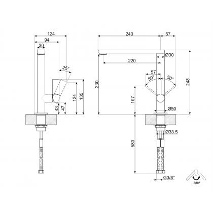 Baterie de bucatarie Smeg M16CSP, crom