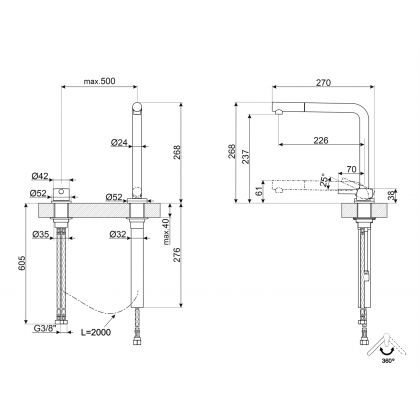 Baterie de bucatarie Smeg MTD5CR, crom