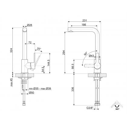 Baterie de bucatarie Smeg MI1CR, crom