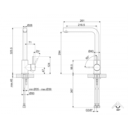 Baterie de bucatarie Smeg MI1SS, crom